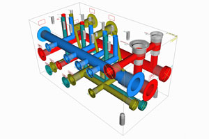 Design and 3D construction for hydraulic control blocks